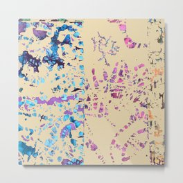 Fiber art, mixed media, fabric collage, beige off-white blue pink purple Metal Print
