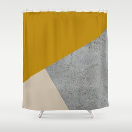 MUSTARD NUDE GRAY GEOMETRIC COLOR BLOCK Shower Curtain