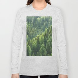 Pine tree forest in the morning fog Long Sleeve T-shirt