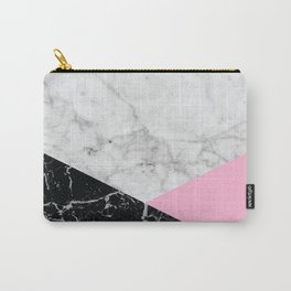 Geometric White Marble - Black Granite & Pink #632 Carry-All Pouch