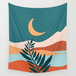 Moonlit Mediterranean / Maximal Mountain Landscape Wall Tapestry