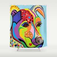 jack russell Shower Curtains featuring Jack Russell Terrier by EloiseArt