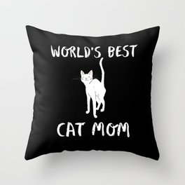 World's Best Cat Mom Cute Animal Typography Art Throw Pillow