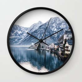 Snowy Mountain Town Wall Clock
