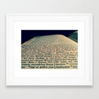 scripture Framed Art Prints featuring Greek Scripture by Tyler Shaum