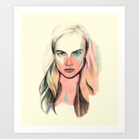cara Art Prints featuring Cara by Beth Zimmerman Illustration