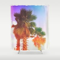 palms Shower Curtains featuring Palms by Neon Wildlife