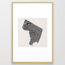 Bergen County, New Jersey Map Framed Art Print