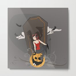Pin Up Halloween Metal Print