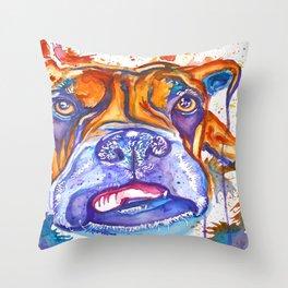 Boxer Blues (Lucille) Throw Pillow