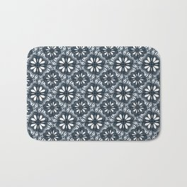 Continuous Flowers Pattern Tessellation in Blue Bath Mat