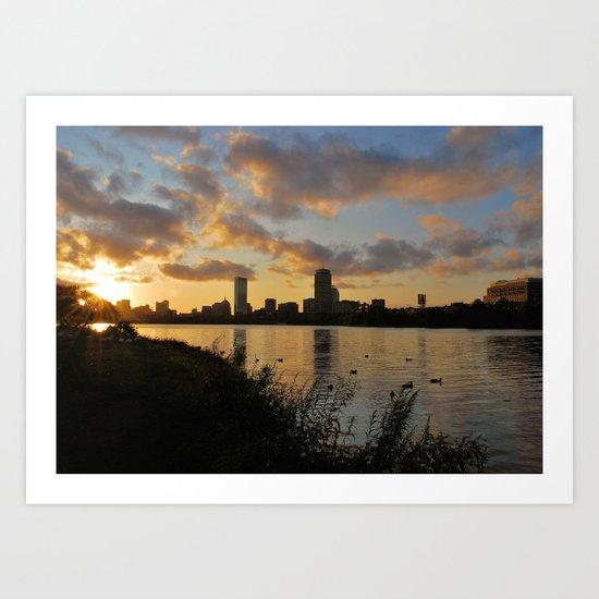 Boston at Sunrise - Massachusetts, New England Art Print
