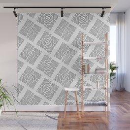 Black Linear Diamond Pattern on White Background Wall Mural