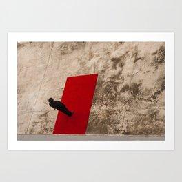 man in black on red carpet Art Print