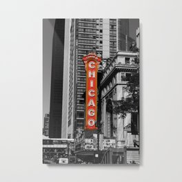 Black and White with Red Chicago Theatre sign Photography Metal Print