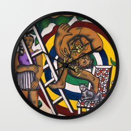 The Acrobat and his Partner by Fernand Léger Wall Clock