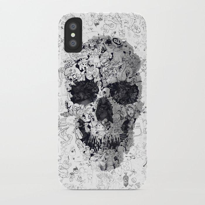Doodle Skull BW iPhone Case