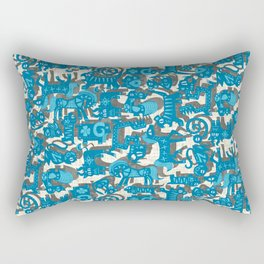 chinese animals blue Rectangular Pillow