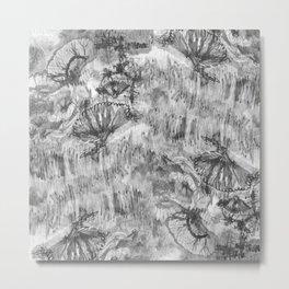 Black and White Drawn Florals Metal Print