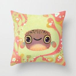 Smiling puffer Throw Pillow