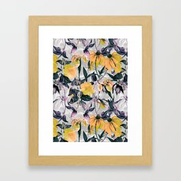 Abstract pattern of yellow blooms Framed Art Print