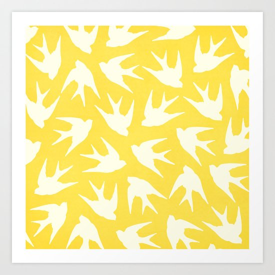 Birds (Yellow) Art Print