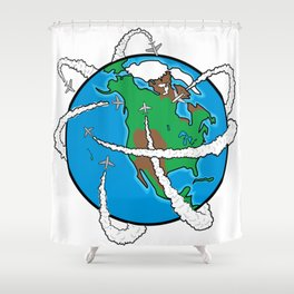Jets Circling the Globe Shower Curtain