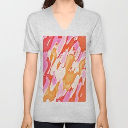 orange brown and pink camouflage graffiti painting abstract background Unisex V-Neck