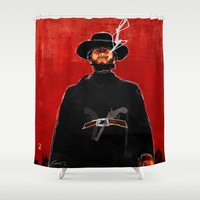clint eastwood Shower Curtains featuring Western: The Man With No Name by Ed Pires