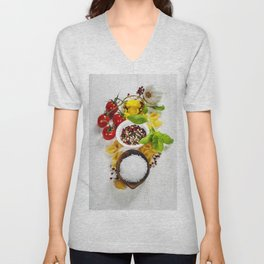 italian pasta with vegetables, herbs, spices, cheese and olive oil Unisex V-Neck