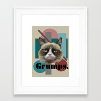 game grumps Framed Art Prints featuring Grumps the cat by Noisy Nora