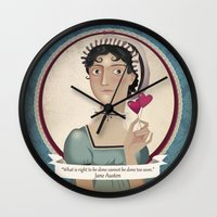 jane austen Wall Clocks featuring Jane Austen said... by Mrs Peggotty