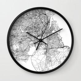 Copenhagen White Map Wall Clock
