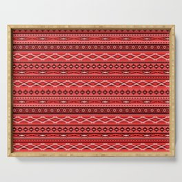 Modern Native Navajo Ethnic Tribal - Red Color Serving Tray