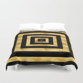 ART DECO SQUARES BLACK AND GOLD #minimal #art #design #kirovair #buyart #decor #home Duvet Cover