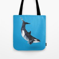 killer whale Tote Bags featuring Killer Whale. by Diana D'Achille