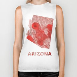 Arizona map outline Red Pink streaked wash drawing Biker Tank