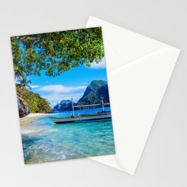 tropical islands ocean boat beach tourism El Nido Palawan Philippines Stationery Cards