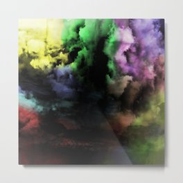 Mixed Emotions - Cloudy Black And Colour Abstract Metal Print