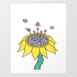 Bees at Work Art Print