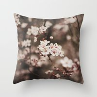 cherry blossom Throw Pillows featuring Cherry Blossom by Evan Dalen