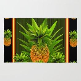 MODERN ART GREEN-BLACK  HAWAIIAN PINEAPPLE ART Rug