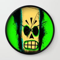 grim fandango Wall Clocks featuring Manny Calavera, Green version (Grim Fandango) by acefecoo