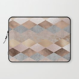 Copper and Blush Rose Gold Marble Argyle Laptop Sleeve