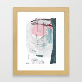 Swing in the Flower Tree Framed Art Print