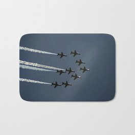 The Red Arrows flying in formation Bath Mat