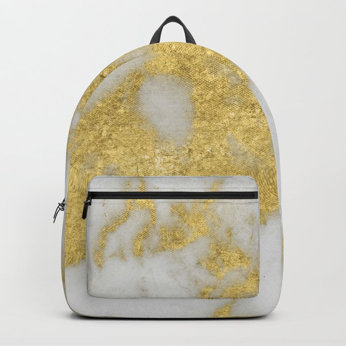 Marble - Yellow Gold Marble Foil on White Pattern Backpack