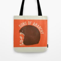 sons of anarchy Tote Bags featuring Sons of Anarchy Skull Helmet by Ryder Doty