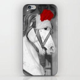Santa Horse Black and White 3 iPhone Skin