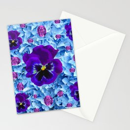 HYDRANGEAS FLORAL & PURPLE PANSIES AMETHYST GEMS Stationery Cards